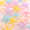 Clear Frosted Holographic Starfish Resin Cabochon - 8 pieces
