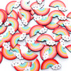 Kawaii Face Rainbow Flatback Resin Cabochon - 8 pieces
