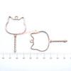 Cat Wand Open Bezel Gold Charm - 3 pieces