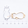 Cat with Ribbon Open Bezel Gold Charm - 4 pieces