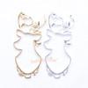 Christmas Reindeer Open Bezel Gold Charm - 4 pieces
