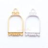 Birdcage Open Bezel Silver Charm - 4 pcs