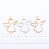 Angel Trumpet Open Bezel Metal Charm - 6 pieces