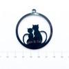 Kitty Cat Black Bezel Acrylic Charm - 2 pieces