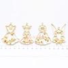 Princess Dresses Open Bezel Metal Charm (Yellow Gold) - 4 pieces