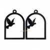 Bird Cage Black Bezel Acrylic Charm - 2 pieces