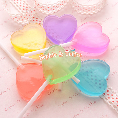 Fake Heart Candy Lollipops Decoration (Clear) 35mm - 6 pieces