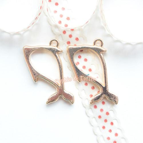 Dolphin Open Bezel Gold Charm - 5 pieces