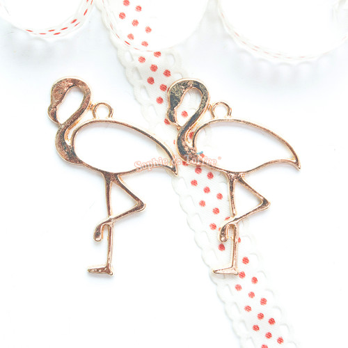 Flamingo Open Bezel Gold Charm - 2 pieces