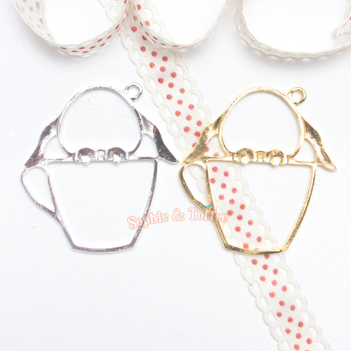 Bunny Cup Open Bezel Charm - 3 pieces