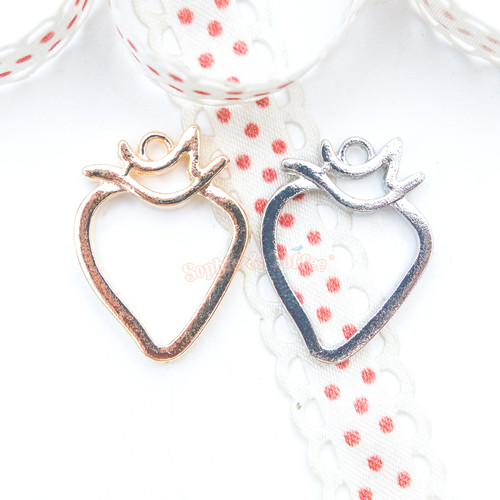 Strawberry Open Bezel Charm - 5 pieces