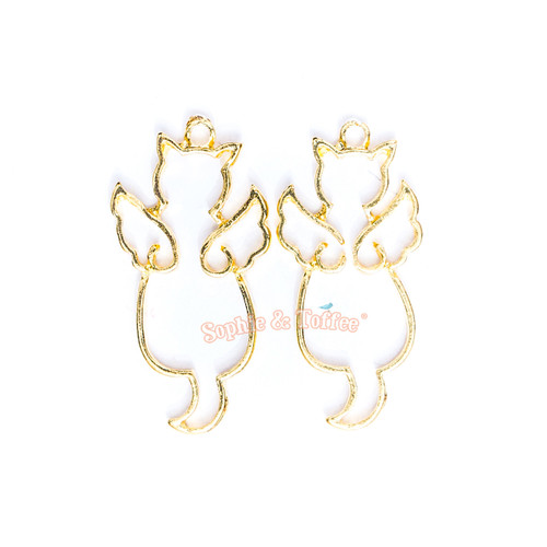 Magical Cat with Wings Open Bezel Gold Charm - 4 pcs
