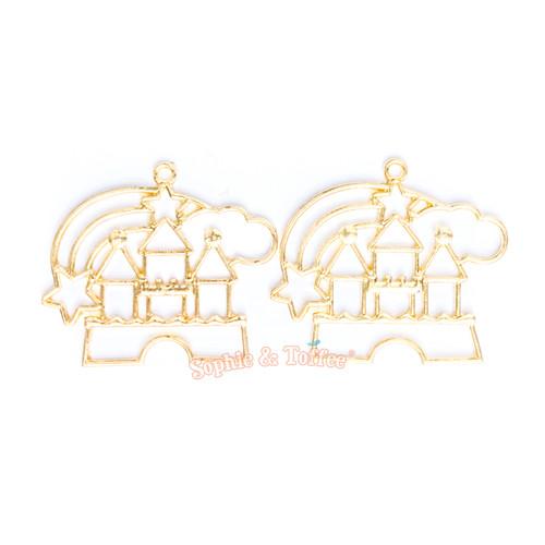 Magical Castle Open Bezel Gold Charm - 2 pcs