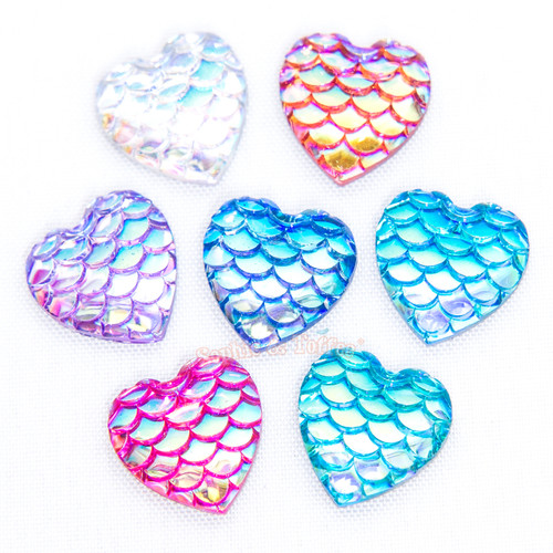 Iridescent Mermaid Scales Cabochon - 14 pieces
