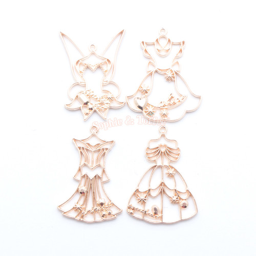 Princess Dress Open Bezel Metal Charm (Rose Gold) - 4 pieces