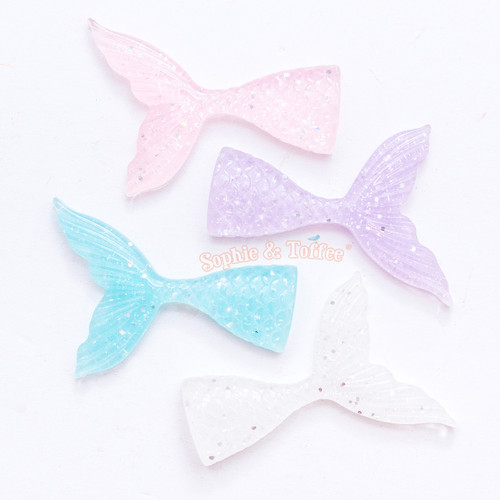 Pastel Glitter Mermaid Tail Resin Cabochon - 4 pieces