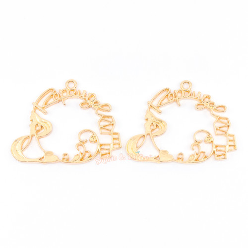 Princess Open Back Bezel Charm (Yellow Gold) (2 pieces)