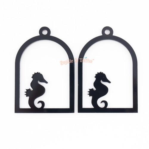 Seahorse Cage Black Bezel Acrylic Charm - 2 pieces