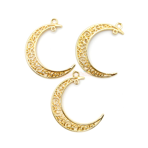 Crescent Moon Filigree Metal Charms (6 pieces)