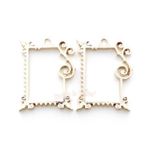 Fancy Rectangle Frame Open Bezel Charms (4 pieces)