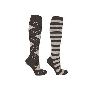 Mark Todd Ladies Argyle & Stripe Twin Pack - Black & Grey