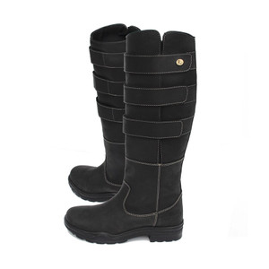 Rhinegold Elite Colorado Long Leather Country Boots - Black