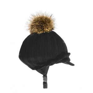 Rhinegold Antarctic Fur Woolly Bobble Hat - Navy
