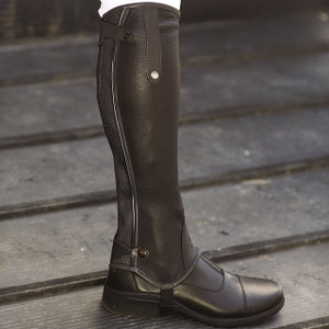 Mark Todd Patent Piped Leather Chaps - Black Standard length