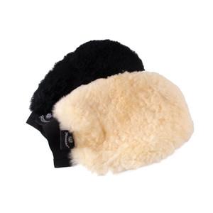 Rhinegold Real Sheepskin Grooming/Finishing Mitt - Black