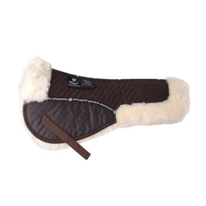 Rhinegold Real Sheepskin Comfort Half Pad Numnah - Black/Natural