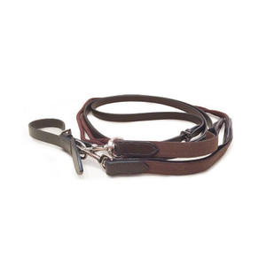Mark Todd Leather / Rope Draw Reins with Elastic - Havana