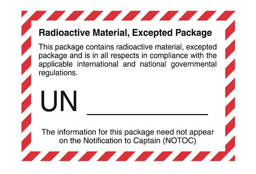 Radioactive Material, Excepted Package (UN Number Left Blank)