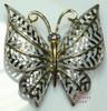 Avon Silver & Gold Sapphire Blue Rhinestone Filigree Butterfly Brooch Vintage 1980s Designer Fashion Jewelry Gift