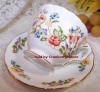 Aynsley Cottage Butterfly Tea Cup & Saucer from England Vintage 1990s English Designer Fine Bone China Gift