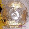 New Martinsville Viking Janice Bon Bon Dish w/ Silver Glass Co 22K Gold Queens Rose Overlay Vintage Mid Century 1940s Designer Gift