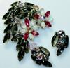 Black Satin Rhinestone Brooch & Earrings Demi Parure Vintage Mid Century 1960s Fashion Jewelry Gift
