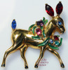 Coro Craft Sterling Silver Ruby & Sapphire Rhinestone Christmas Reindeer Brooch Vintage Mid Century 1940s Designer Fashion Jewelry Gift
