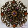 Amethyst & Topaz Rhinestone Victorian Revival Brooch by Coro Vintage 1930s Fashion Designer Jewelry Gift