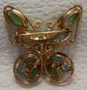 Blue & Green Butterfly Rhinestone Brooch Vintage 1970s Fashion Jewelry Gift