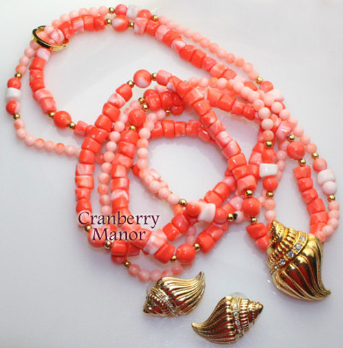 Kenneth J. Lane KJL for Avon Undersea Necklace & Earrings Torsade Coral Rhinestone Sea Shell Vintage 1980s Totally 80s Designer Fashion Jewelry Gift