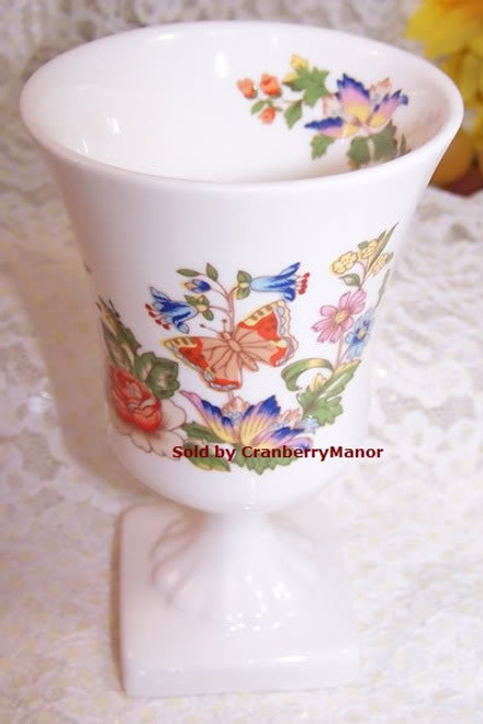 Aynsley Cottage Garden Butterfly Pedestal Vase from England Vintage 1990s English Designer Fine Bone China Gift