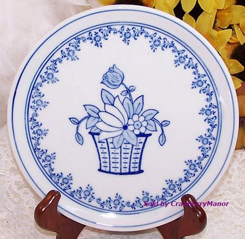 Blue & White Spring Flower Plate by Hof-Moschendorf Bavaria Germany Vintage 1930s German Designer Transferware Gift