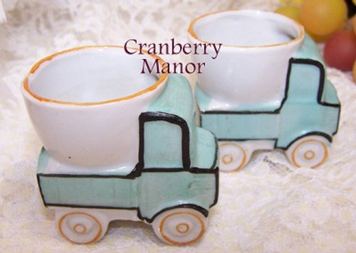 Baby Boy Kitschy Dump Truck Egg Cups from Japan Set of 2 Vintage Mid Century 1950s Breakfast Kitchenware Japanese Designer Gift
