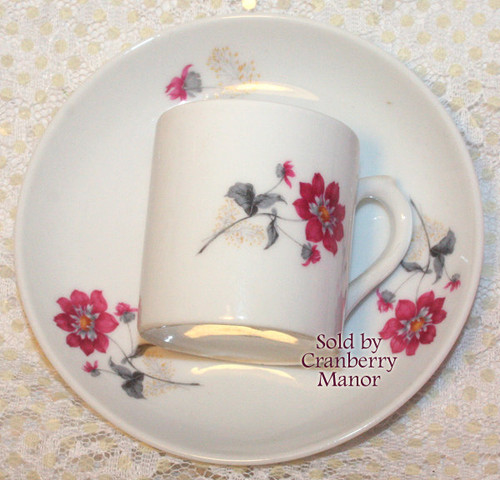 Demitasse Tea Cup & Saucer by VA Vista Alegre for Mottahedeh Portugal Vintage Mid Century 1960s Portuguese Designer Porcelain Gift Mauve