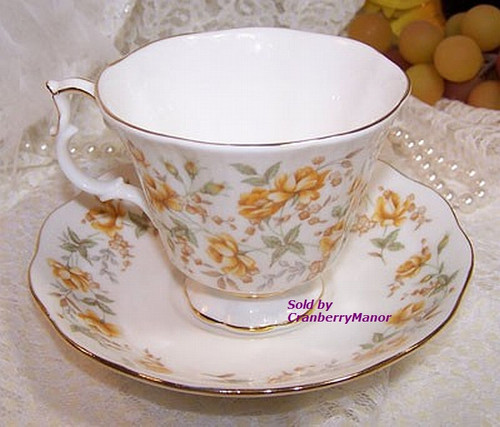 Royal Albert Orange Taffeta Tea Cup & Saucer from England Vintage 1980s English Designer Gift