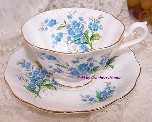Royal Albert Forget Me Not Tea Cup & Saucer from England Vintage Mid Century 1960s English Designer Fine Bone China Gift