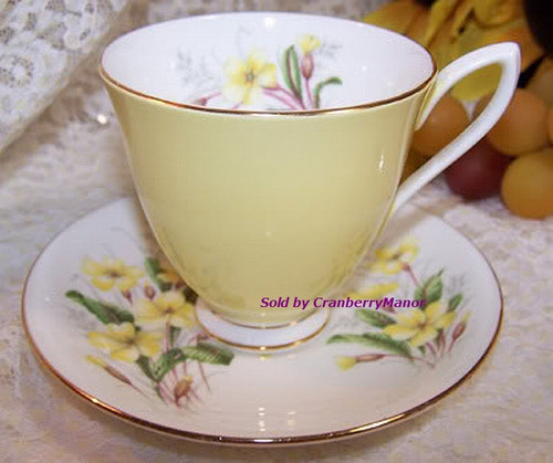 Royal Albert Yellow Primrose Tea Cup & Saucer from England Vintage Mid Century 1960s English Designer Fine Bone China Gift