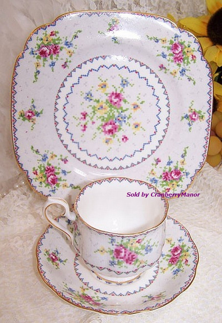 Royal Albert Petit Point Tea Cup, Saucer & Plate Trio from England Vintage 1970s English Designer Fine Bone China Gift