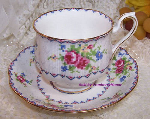 Royal Albert Petit Point Tea Cup & Saucer from England Vintage 1970s English Designer Fine Bone China Gift