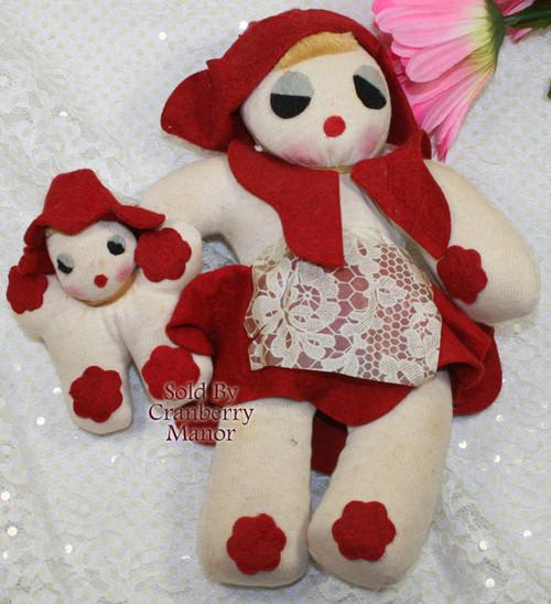 Red Felt Sock Mommy & Me Rag Toy Doll Vintage Mid Century 1940s Folk Art Gift